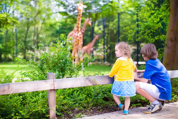 Children in the zoo