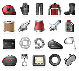 Motorcycle parts and accessories icons