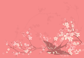 spring background with swallow and flowers
