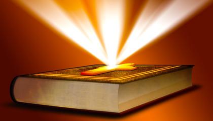 Holy Bible mit Kreuz und Lichterscheinung