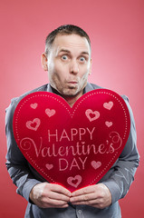 Funny man with Valentine's Day heart