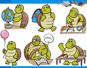 turtle character student cartoon set