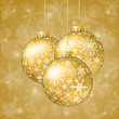 Christmas card with golden balls and snowflakes on gold