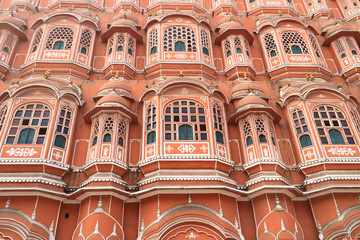 Closeup of Hawa Mahal, Wind Palace, Jaipur, Rajasthan, India
