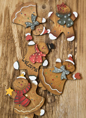 Vintage Wooden Lady and Man Christmas Decorations
