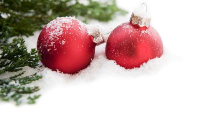 sapin et boule de Noël rouge