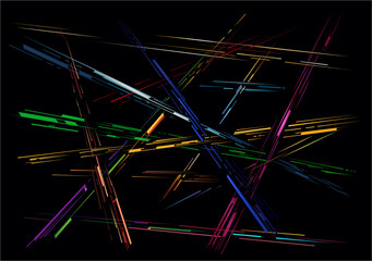 Abstract crossing colored lines