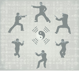 Illustration of six men engaged in Kung Fu.