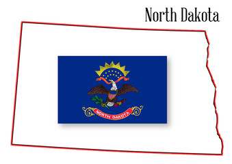 North Dakota State Map and Flag
