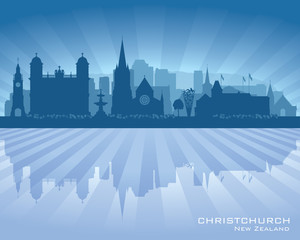 Christchurch New Zealand city skyline vector silhouette