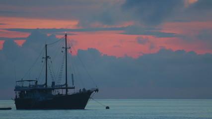 Dive boat at the sunrise, Ko Miang island Similan Islands