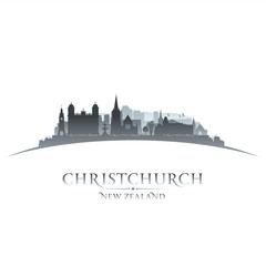 Christchurch New Zealand city skyline silhouette white backgroun