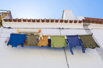 clothes hanging in Evora, Portugal