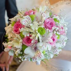 Beautiful bouquet in hand of bride
