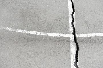 Vertical crack on the asphalt terrain