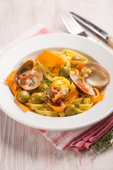 tagliatelle with smooth callista olives pumpkin and thymus
