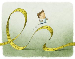man running on tape measure