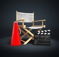 Director chair, film slate and load horn