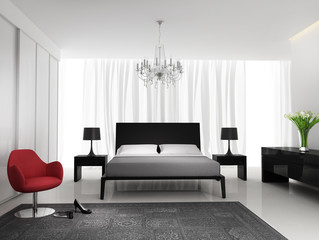 Contemporary black elegant white bedroom with rug