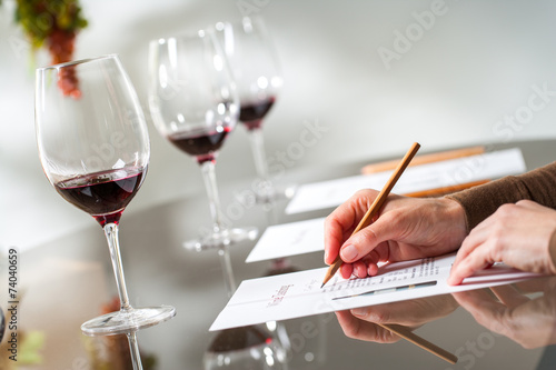 Hands taking notes at wine tasting. - 74040659