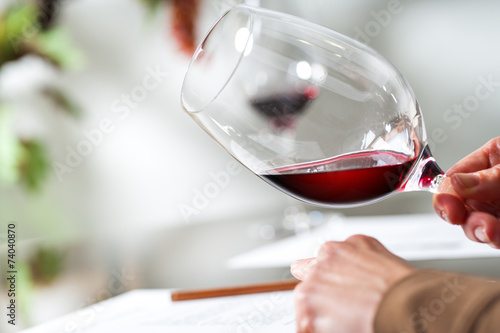 Sommelier evaluating wine at tasting. - 74040870
