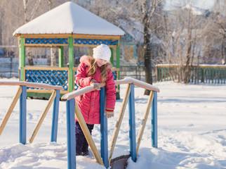 smile girl in winter garden