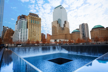 Memorial 911 with beautiful buildings, New York