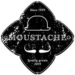Moustache vintage black emblem | retro, grunge texture
