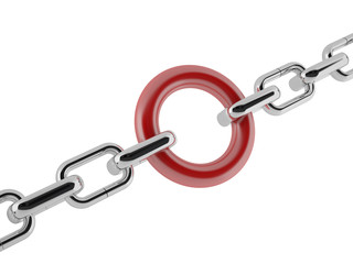 Group of chrome chains with a red link