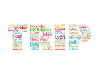 TRIP travel concept made with words cities names, vector collage