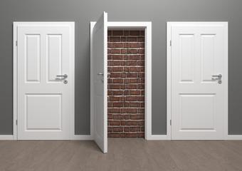 Raum mit zugemauerten Türen