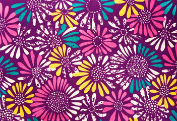 Colored daisies fabric