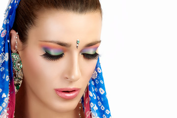 Ethnic Beauty Fashion. Hindu Woman. Colorful Makeup