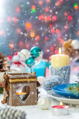 Christmas festive xmas eve table board setting New Year snowman