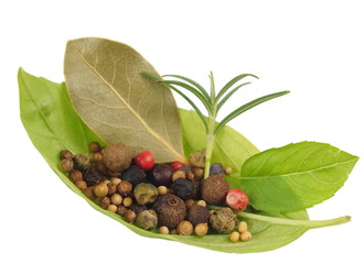 basil's leaf with spices