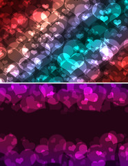 hearts bokeh, Valentines day background