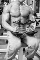 Handsome muscular man working out with dumbbells
