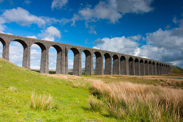 Famous Ribblehead Viaduct in Yorkshire Dales,England.It is 440 y