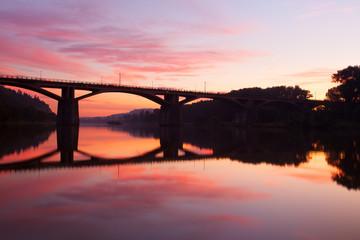 Sunrise over the Vltava river in Prague