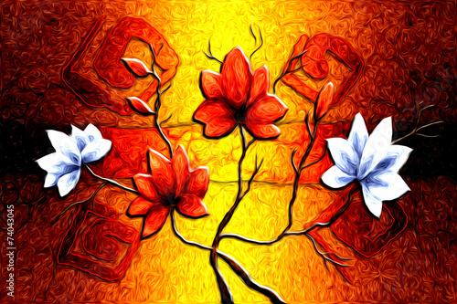 Aluminium Bloemen Schilderen Abstract flower oil painting