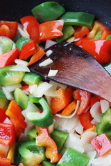 Chopped red & green peppers