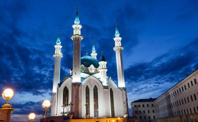 Qol Sharif mosque in Kazan, Russia with night illumination