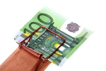Mausefalle mit Eurogeldscheinen