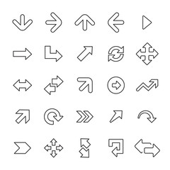 25 outline, universal Arrows icons.