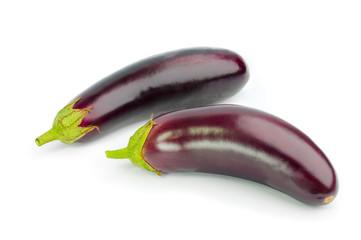 Two fresh eggplants isolated on white background