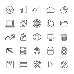 25 outline, universal big data, database icons.