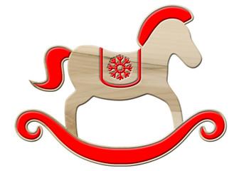 Schaukelpferd-Weihnachtsdeko aus Ahornholz, rot dekoriert