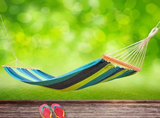 Relaxing on hammock in garden