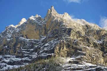 Winter mountain view in Bernese Oberland, Switzerland.
