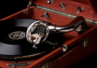 gramophone with old vinyl record